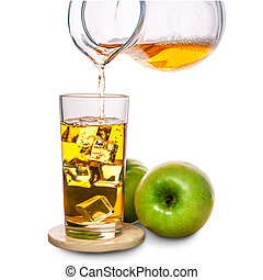 glass with ice and pouring apple juice decorated fruits on stone isolated over white background, concept of refreshing summer drink