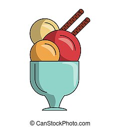 glass with ice cream icon cartoon