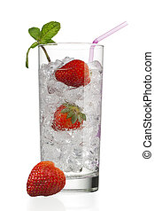 glass with ice cubes and strawberries
