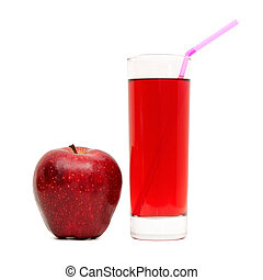 Glass with juice and apples
