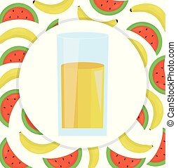 glass with juice of banana and watermelon