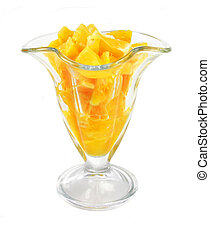 glass with juicy orange fruit pieces isolated on the white