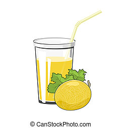 Glass with Melon Juice - Glass of Fresh Fruit Juice of Melon...