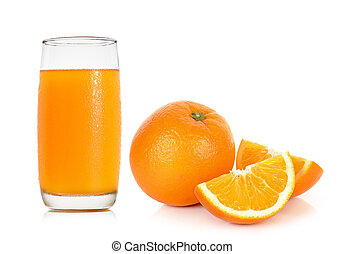 Glass with orange juice isolated on the white background