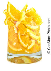 Glass with pieces of the orange.