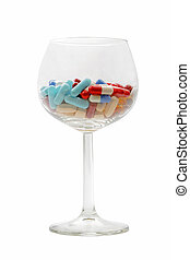 Glass with pills