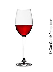 glass with red wine isolated