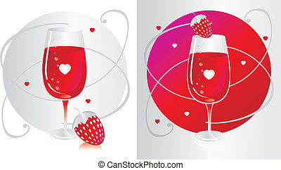 Glass with red wine with a strawberry