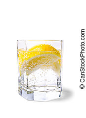 soda water and lemon slices - glass with soda water and...