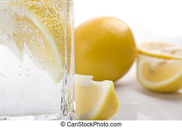 soda water and lemon - glass with soda water and lemon...