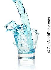 Glass with splashing blue drink.