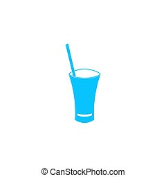 Glass with straw icon flat.