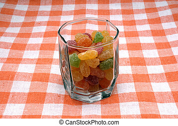 Glass with sugar candies