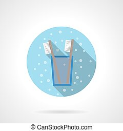 Glass with toothbrush round flat color vector icon