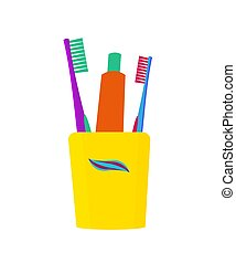 Glass with toothbrushes and toothpaste. Vector illustration. Dental care