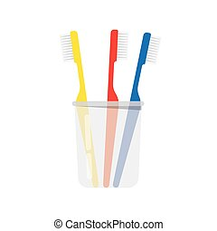 Glass with toothbrushes.