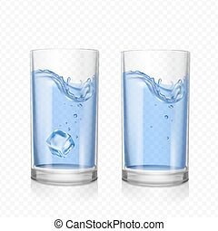 Glass with water and ice cube realistic