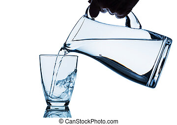 glass with water and jug
