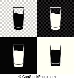 Glass with water icon isolated on black, white and transparent background. Soda glass. Vector Illustration