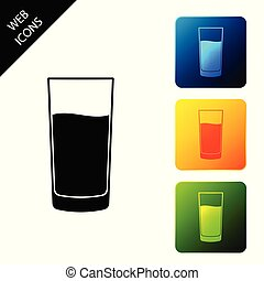 Glass with water icon isolated on white background. Soda glass. Set icons colorful square buttons. Vector Illustration