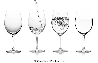 glass with water isolated on a white background.
