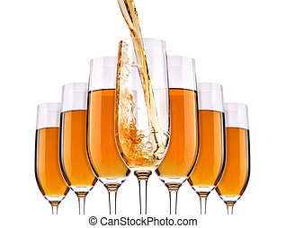 Glass with white wine splash set
