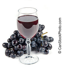 glass with wine and fruit