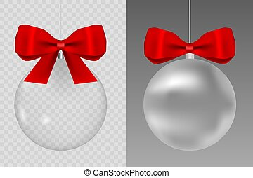 Template of glass transparent ball empty. Christmas toy. Glass globe with red silk ribbon. Stocking element xmas decorations.