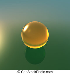 glass yellow ball with green background