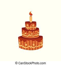 glassa, cioccolato, fila, torta compleanno, candela