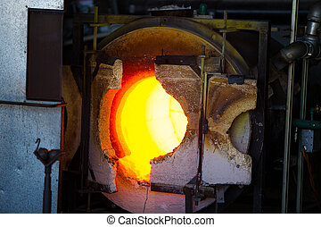 Glassblowing Furnace - A very hot glassblowing furnace kiln...