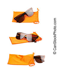 Glassed and pouch bag composition - Pair of glasses and...