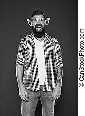 glasses., óculos, moda, partido., homem, entretendo, beard., barbudo, partido, desfrutando, mind., divertimento, meu, sujeito, desgastar, hipster, engraçado, himself., accessory., só, brincalhão, extravagante