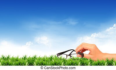 Glasses and a bright sky.  - Glasses and a bright sky.