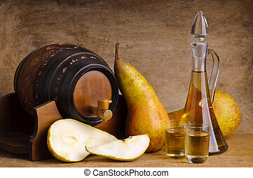 fruit brandy - glasses and bottle of traditional fruit...