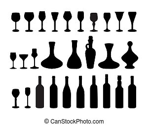 Glasses and bottles of wine 2 - Black silhouettes of glasses...