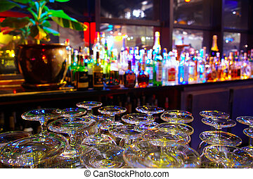 Glasses and Bottles - Glasses and assorted colorful bottles...