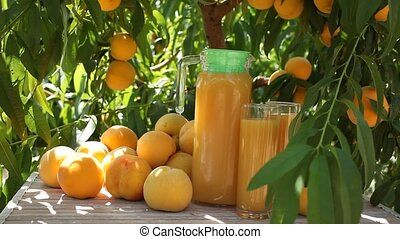 Glasses and carafe with peach juice and fresh yellow fruits ...