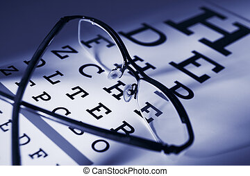 Glasses and eytest chart differential focus blue tone