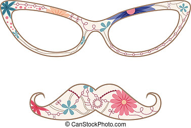 Glasses and mustache - vector vinatge illustration of...