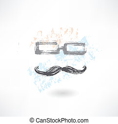 glasses and mustache grunge icon