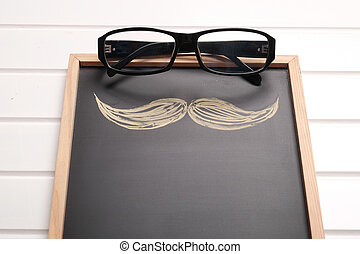 Glasses and mustache hand drawn