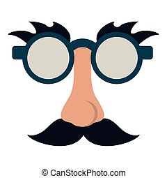 Glasses and mustache with nose joke