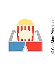 Glasses and popcorn. Cinema icon flat style. Movie Icon isolated