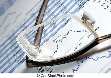 Glasses and printed financial report with data, charts.