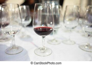 Glasses at a wine tasting