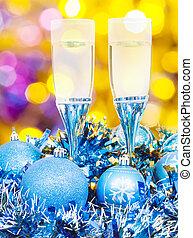 glasses, blue Xmass balls on blurry background 5