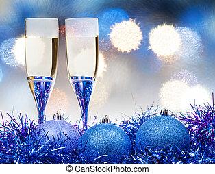 glasses, blue Xmass balls on blurry background 8