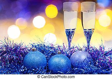 glasses, blue Xmass balls on blurry background 9