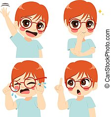 Glasses Boy Face Expression